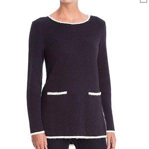 NIC + ZOE Modern Pocket Sweater Top Fuzzy Trim